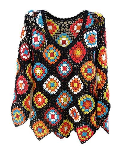 Crochet Top Women Long Sleeve Blouse