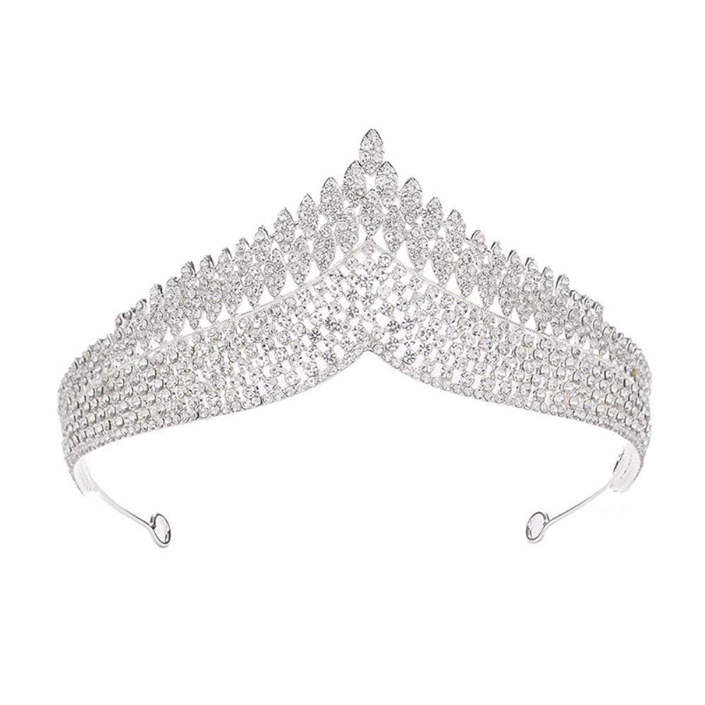Silver Crystal Tiara Complete Free Shipping Crown Headband Elegant for W In a popularity Princess