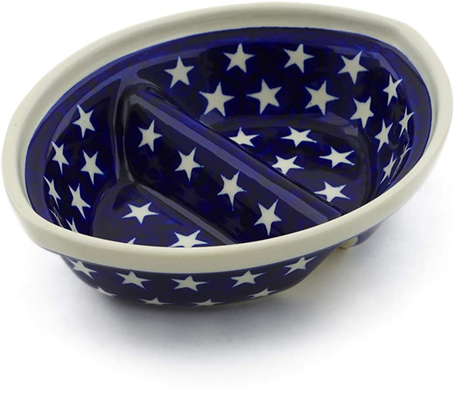 Polish Pottery 7-inch Divided Dish (America The Beautiful Theme) + Certificate of Authenticity
