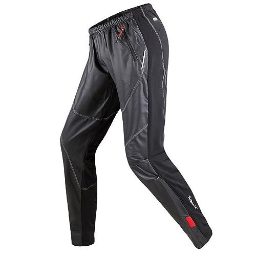 c9d2332bc8f9 Santic Cycling Trousers Sports Pants Mens Bottoms Windproof Zip Pockets  Drawstring Black Running Bike Outdoor