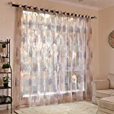 Bloomma Curtain Panel, 2PCS Floral Tree Sheer Curtains Polyester and Viscose Fabric Tulle Voile Curtain for Bedroom Living Room Balcony Door Window,100cm x 250cm