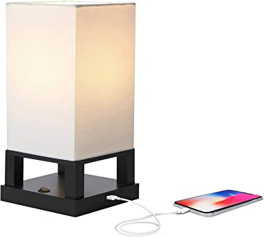 Brightech Maxwell - Bedroom Nightstand Lamp with USB Ports – Modern Asian Table Lamp w/Wood Frame - Soft Light Perfect for Bedside - with LED bulb - Black