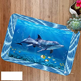 Dolphins Bathroom Rug Set,Non-Slip Bath Rugs,Toilet Pad 3-Pack,Cute Dolphins in Pool in Dolphinarium,Home Rugs Soft Washable Floor Rug for Tub Shower,16x24 in
