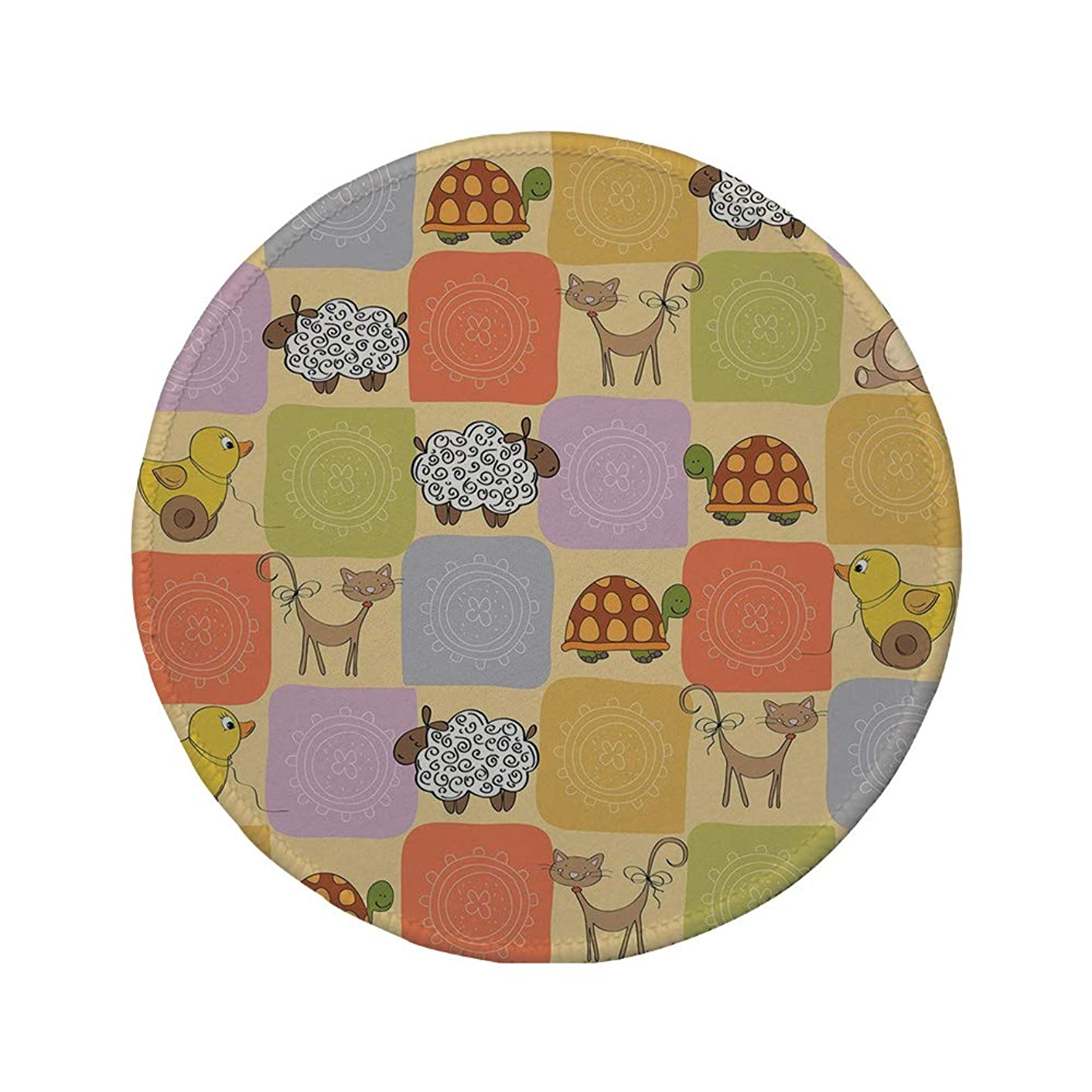 Non-Slip Rubber Round Mouse Pad,Nursery,Toys and Animals in a Checkered Background Teddy Bears Sheep Cats Duck Toys Decorative,Tan Multicolor,11.8