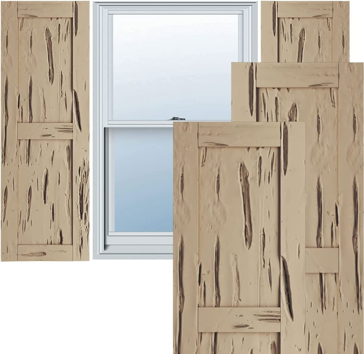 Sales for sale Ekena Millwork SHULVPC Faux Wood Shutters Cheap mail order shopping Rustic Two Per Pair