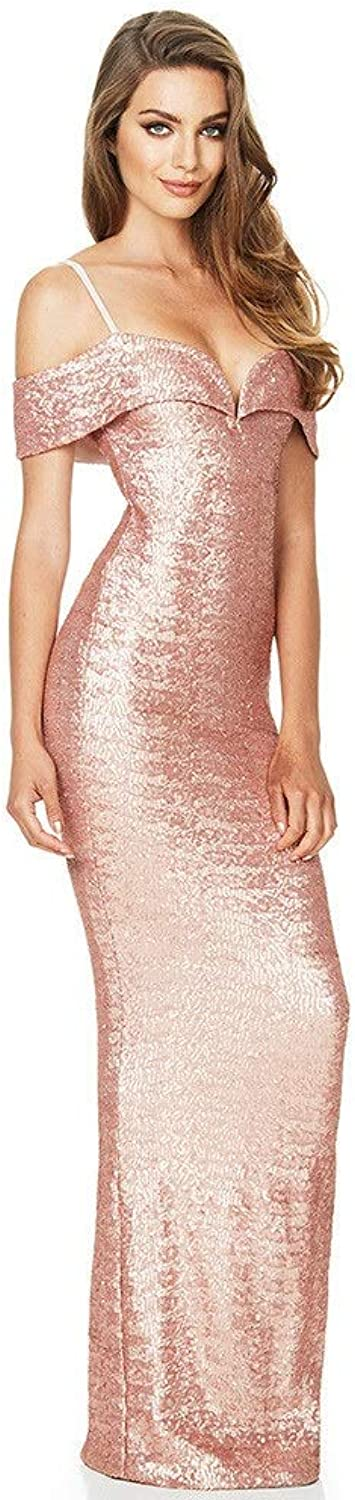 Bridesmaid Dress Women Back Split Off The Shoulder Sparkly Sequin Bridesmaid Dress Formal Evening Party Gown Long Maxi Prom Dress (color   Champagne, Size   S)