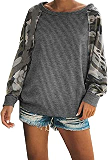 YiYLunneo Women Casual Long Sleeve Patchwork Camo Printed Sweatshirts Pullover Blouse Shirts