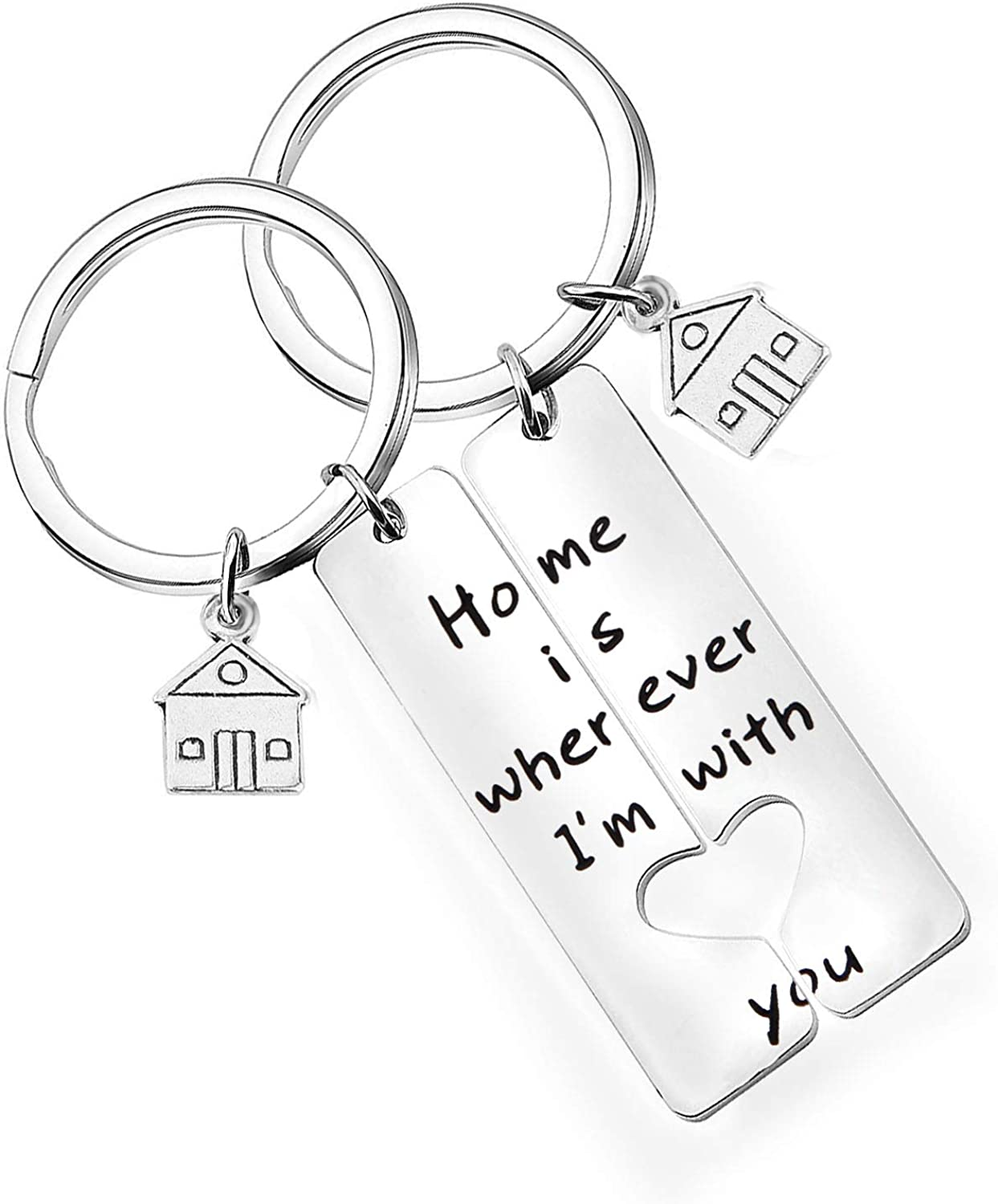 Great idea as lucky pursebag charm for housewarming gift A little house shape keychain in real genuine saffiano leather Home sweet home.