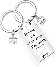 bobauna Home is Wherever I'm with You Keychain Set Romantic Gift for Couple Boyfriend Girlfriend