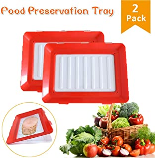 Vaughenda Food Tray Plastic Preservation Tray, Healthy Seal Food Storage Container Kitchen Tools for Vegetable, Fruits, Meat, Fish (2 Pack)