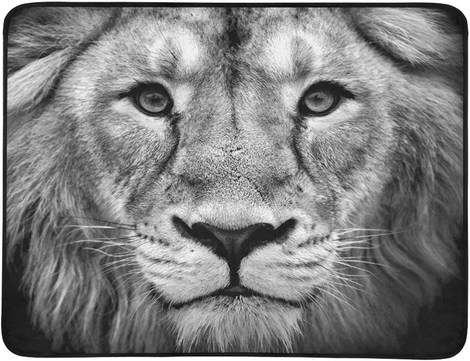 Black White Closeup Portrait Asian Lion Portable and Foldable Blanket Mat 60x78 Inch Handy Mat for Camping Picnic Beach Indoor Outdoor Travel