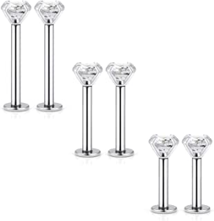 Kridzisw 16G Lip Rings Studs 316L Stainless Steel 2mm 3mm CZ Inlaid Labret Monroe Helix Tragus Cartilage Earring Ring Stud Piercing 6mm (1/4