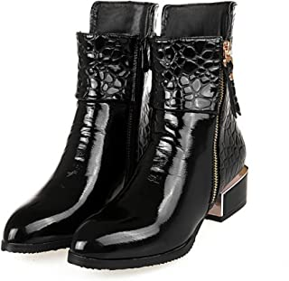 Stylish Pointed Toe Ankle Booties Women's Waterproof Double Zipper Low Chunky Motorcycle Boots