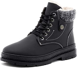 Sunny&Baby Men's Fashion Ankle Work Boot Casual Windproof and Waterproof Winter Faux Fleece Inside High Top Boot Durable (Color : Black, Size : 6 UK)