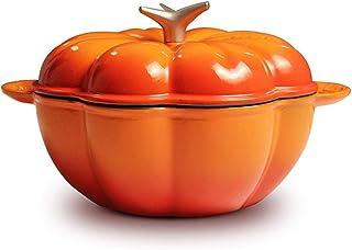 LIUSHI Creative Pumpkin Cast Iron Enamel Pot,25cm Stew Pot,Thickened Healthy Cookware Casserole