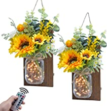ETERNAL ANGEL Mason Jar Sconces Decorative Rustic Sunflower Wall Decor with LED Fairy Lights Remote Control Home Decoratio...