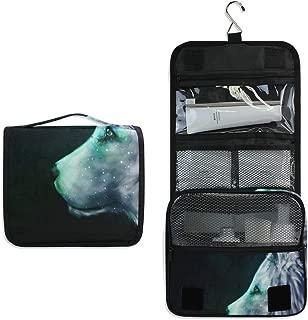 Mystical Wolf Galaxy Large Capacity Hanging Toiletry Bag for Men & Women, Portable Waterproof Bathroom Shower Bag, Lightweight Dopp kit Shaving Bag, Sturdy Metal Hook Organizer Makeup Bag