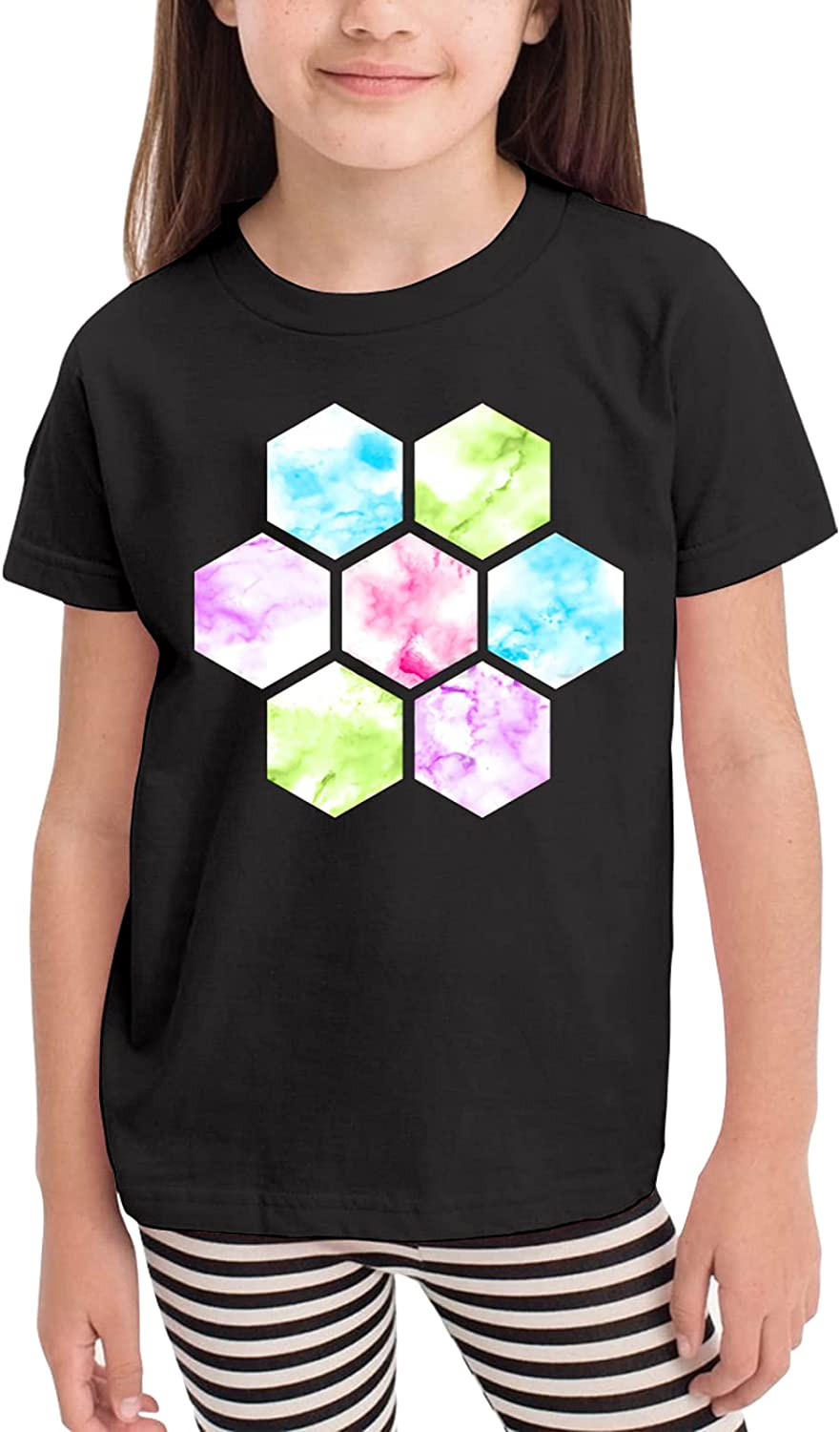 Marble Honeycomb Watercolor Children's T-Shirt,Short Sleeve Cotton Shirts Boys Girls Tee Tops for Summer