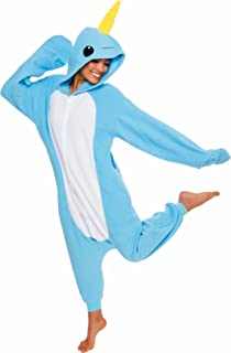 Silver Lilly Unisex Adult Pajamas - Plush One Piece Cosplay Narwhal Animal Costume