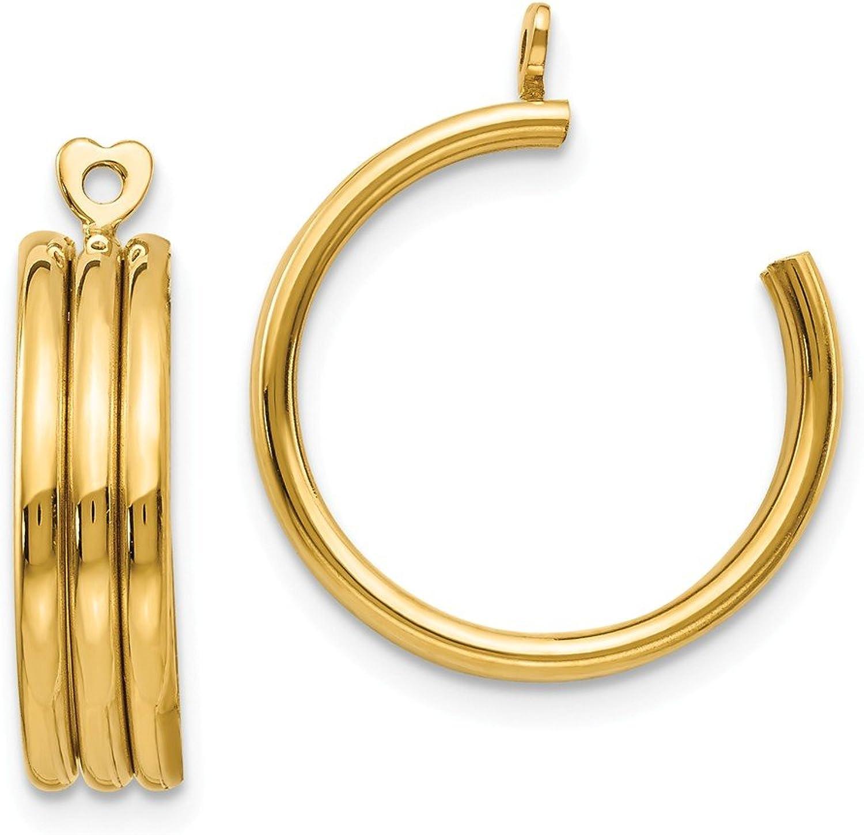 Beautiful Yellow gold 14K Yellowgold 14k Polished Triple Hoop Earring Jackets