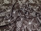 Kleiderstoff mit Blumendruck, Polyester, Chiffon, Braun,