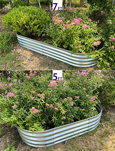"Raised Garden Bed Metal Elevated Planter for Vegetable Flower Herb(7 ft.) 3 Product Size: 83""L x 35.5""W x 12""H Product Volume: 17.83 Cu. Ft. Suitable for planting vegetables、flowers and plants in your courtyard."