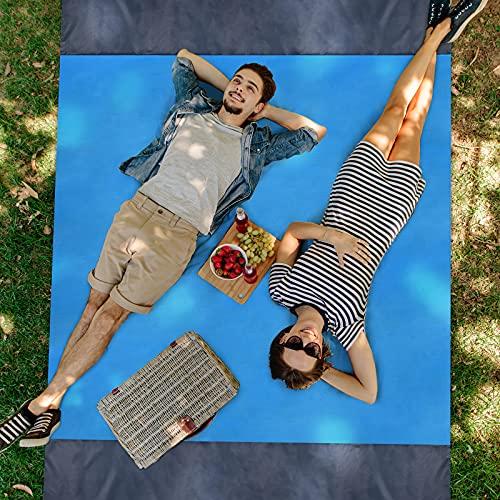 TKLake Picknickdecke 210 x 200cm, Stranddecke wasserdichte, Sandabweisende Campingdecke 4 Befestigung Ecken, Tragbare Campingmatte Ultraleicht kompakt Wasserdicht und Sandabweisend (Blue)