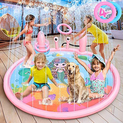 """LETOMY Splash Pad, Tapete Acuático, Juego de Salpicaduras y Salpicaduras, Juguete para Niños de 70"""" con Tema de Sirena para Verano, Piscina de Juego de Verano para Niños y Mascotas en Jardín"""