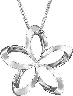 Sterling Silver 19mm Open Plumeria Pendant Necklace, 16+2