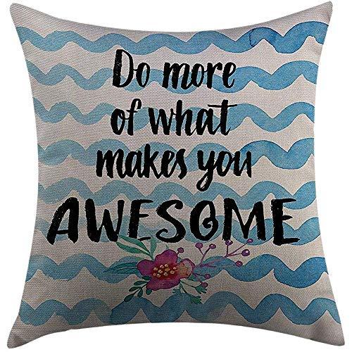 Kussensloop, motief: citaat van de motivatie, maak meer dan alles wat je maakt, een uitdrukking van de levensstijl op de golven, duurzaam, zwart, premium kunst, blauw