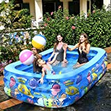QXXZ Piscina Hinchable Familiar,PVC Oceano Patrón Piscina Infantiles,Piscina Hinchable Rectangular Grande para Patio, Adultos, Jardín y Exterior61''x42.5''