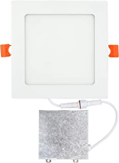 OSTWIN 6 inch 12W (60 Watt Repl.) IC Rated LED Recessed Low Profile Slim Square Panel Light with Junction Box, Dimmable, 5000K Daylight 840 Lm. No Can Needed ETL & Energy Star Listed