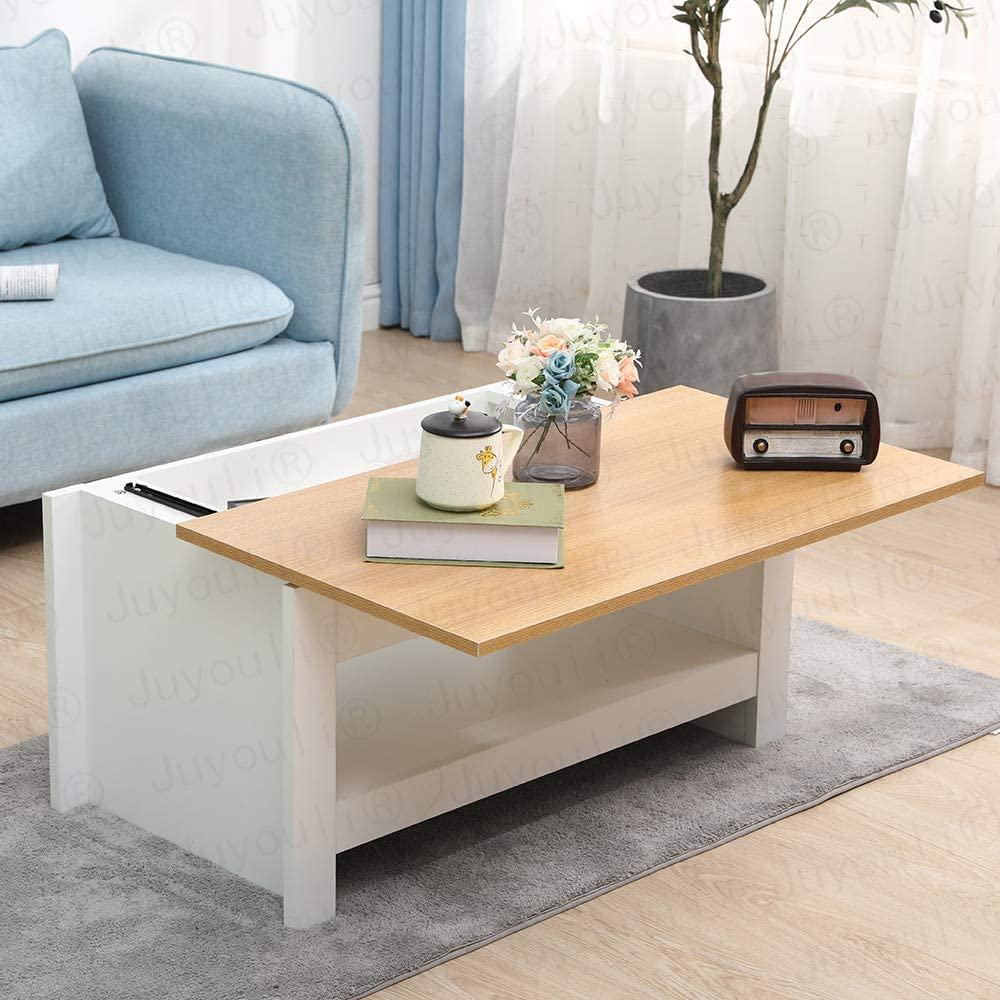 Grey+Oak Juyouli Coffee Table with Sliding Top Storage Area /& Shelf Chipboard Functional Living Room Table-85X47X42CM