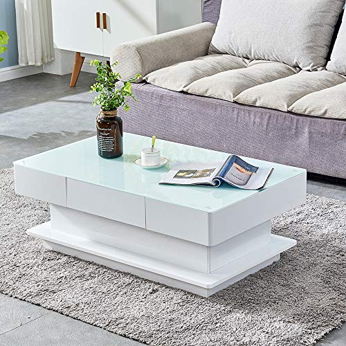 HomeSailing Modern White High Gloss Coffee Table with 2 Storage Drawers Living Room Large Glass Tabletop Coffee Table Wood Frame Sofa End Tea Table Rectangular for Office Waiting Reception Furniture