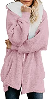 QIQIU Womens Zip Down Hooded Oversized Solid Pocket Fluffy Coat Cardigans Plus Size Loose Casual Outwear