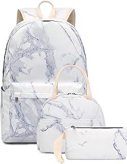 Bookbag School Backpack Girls Cute Schoolbag for 15 inch Laptop Marble backpack set