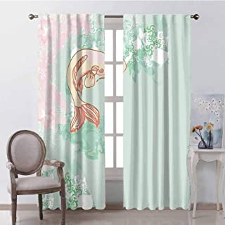 GUUVOR Japanese Heat Insulation Curtain Koi Longfin Gurnard Fish Swimming Pale Complex Customized Sea Backdrop Image for Living Room or Bedroom W100 x L84 Inch Pale Green Pink