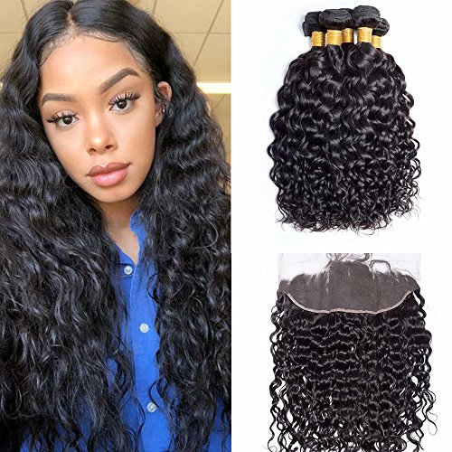 Maxine 10A Brazilian Virgin Hair Bundles with Frontal Water Wave 4 Bundles With 13x4 Lace Frontal Closure Wet And Wavy Virgin Human Hair Weave Natural