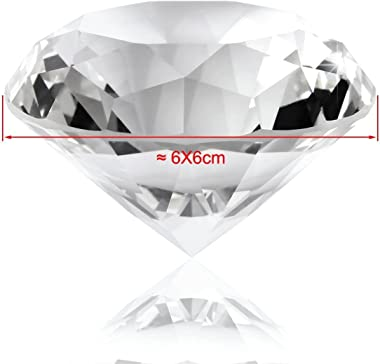 F-ber 60MM Clear Glass K9 Crystal Diamond Shaped Paperweight w/Silver Base Stand Cut Glass Display Ornament, Wedding Table De