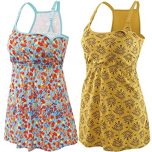 ZUMIY Camiseta de lactancia para embarazadas, de algodón, con doble apertura, para mujer, Yellow Printing+cherry/2pk, L