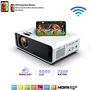 SOTEFE® Mini LED Projector Portable 6000 Lumens-WiFi Video Projectors 1080P Full HD For iPhone Samsung Smartphone Wireless...