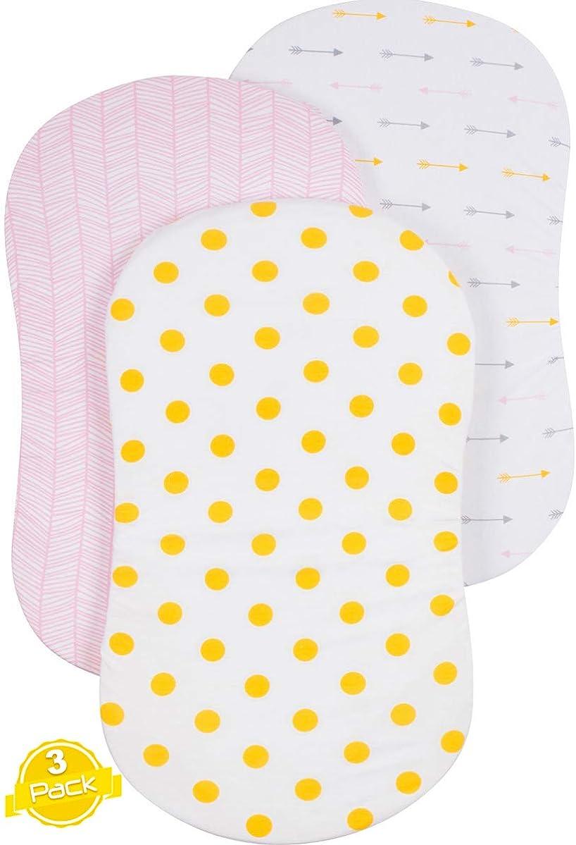 Bassinet Sheet Set | Cradle Fitted Sheets for Bassinet Mattress/Pads | Super Soft Jersey Knit Cotton | 3 Pack | 150 GSM |