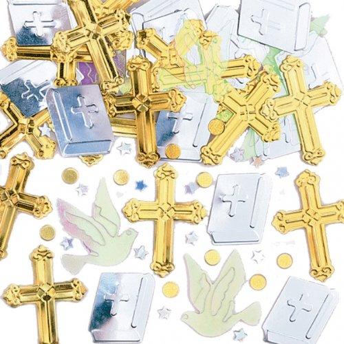 amscan Rejoice Cross & Doves Religious Metallic Table Confetti Sprinkles