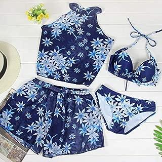 BEESCLOVER Girl Four-Piece Bikini Print Swimwear New Push Up Red Blue Green Flowers Swimsuit Beach Women's Swimming Suit