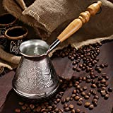 AEVVV Copper Turkish Coffee Maker 17 Oz - Stovetop Cezve Ibrik Vintage Decor Engraved Eastern Motives Ornament - Briki Greek Coffee Pot with Wooden Handle