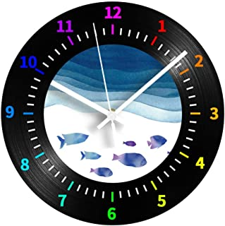 GYJCD Pescado De Mar Reloj Digital Decorativo Números Árabes Dibujos Animados Silencioso Vinilo Sala De Estar Registro Rel...