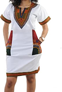 65a7ef8a19b shekiss Women s Dashiki African Bodycon Dresses Bohemian Vintage Print Club  Midi V-Neck Pockets