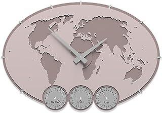CalleaDesign - Orologi in Legno con fusi orari Greenwich da Personalizzare, Colore: Rosa Conchiglia