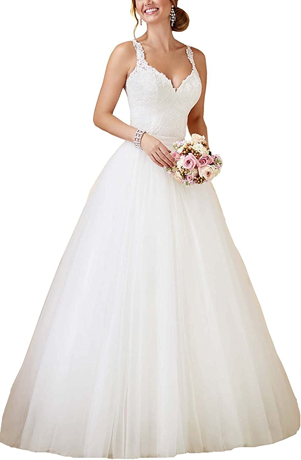 Alexzendra Women's Two Pieces Wedding Dress For Bride 2018 Straps Bride Gowns With Detachable Train