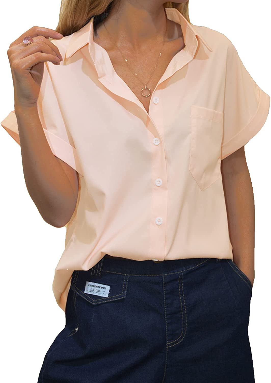 Womens Short Sleeve Shirts V Neck Collared Button Down Shirt Tops with Pocket